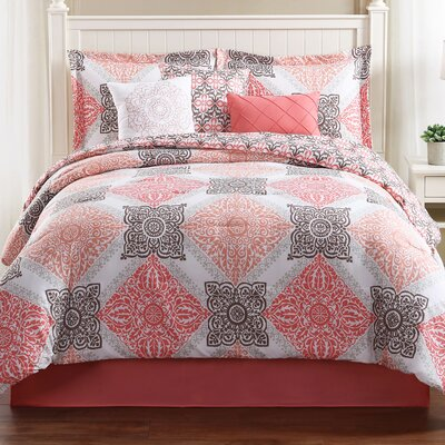 Mallory 7 Piece Reversible Comforter Set Size: King
