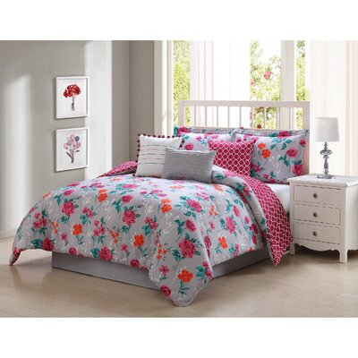 Iverson 7 Piece Reversible Comforter Set Size: King