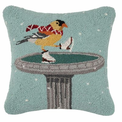 Bird with Ice Skates Wool Hook Throw Pillow