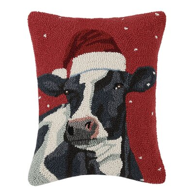 Cow with Christmas Hat Wool Hook Lumbar Pillow