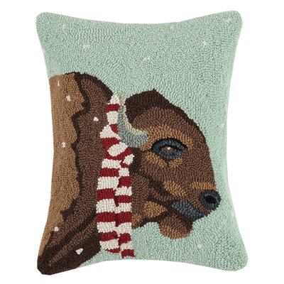Ox with Scarf Wool Hook Lumbar Pillow