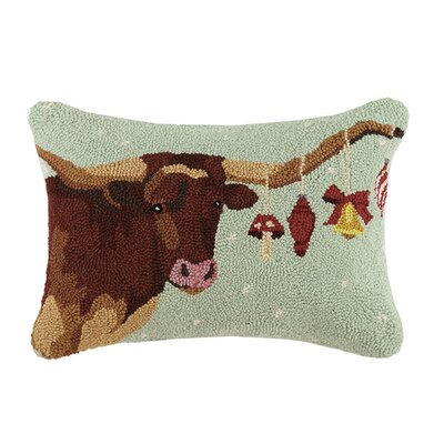 Ox with Ornaments Wool Hook Lumbar Pillow