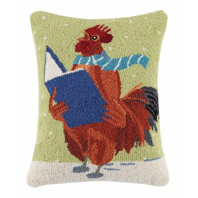 Rooster with Book Wool Hook Lumbar Pillow