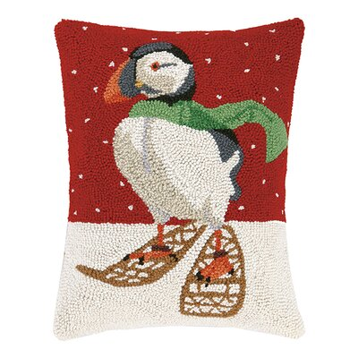 Puffin Snowshoes Wool Hook Lumbar Pillow