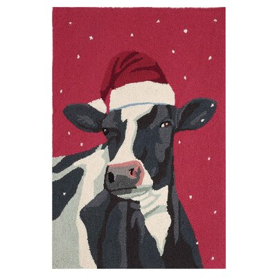 Cow with Christmas Hat Handmade Red Area Rug