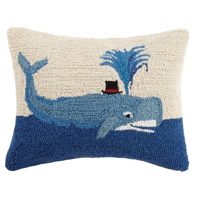 Whale Top Hat Wool Lumbar Pillow