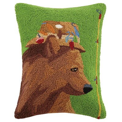 Bear Fishing Hat Wool Lumbar Pillow