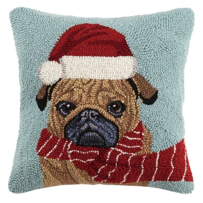 Santa Hat Pug Holiday Hook Wool Throw Pillow