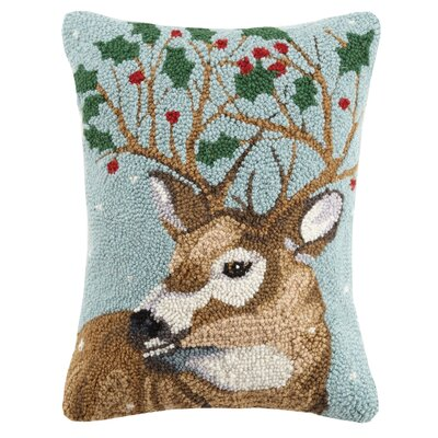 Reindeer Holly Leaves Holiday Hook Wool Lumbar Pillow