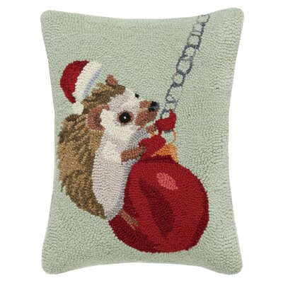 Hedgehog Ornament Holiday Hook Wool Lumbar Pillow