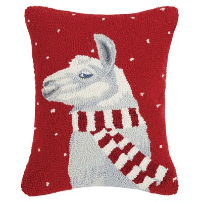 Scarf Llama Holiday Hook Wool Lumbar Pillow
