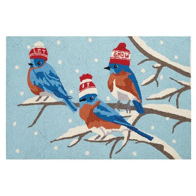 Snowy Birds Hand Hooked Wool Blue Area Rug