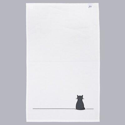 White/Black Sitting Cat Tea Towel