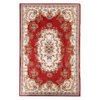 Classic Retro Red/Beige Area Rug Rug Size: Rectangle 46 x 66