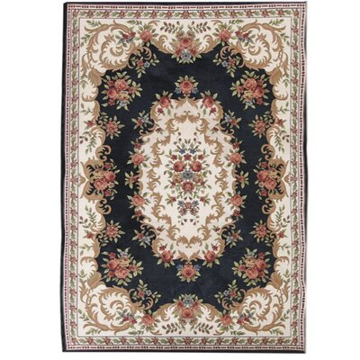 Classic Retro Black/Beige Area Rug Rug Size: Rectangle 66 x 95