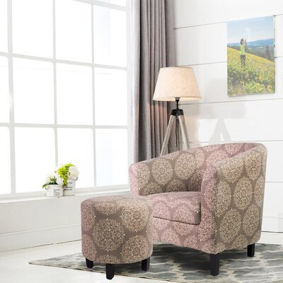 7 A.M. Barrel Chair with Ottoman Upholstery: Gray