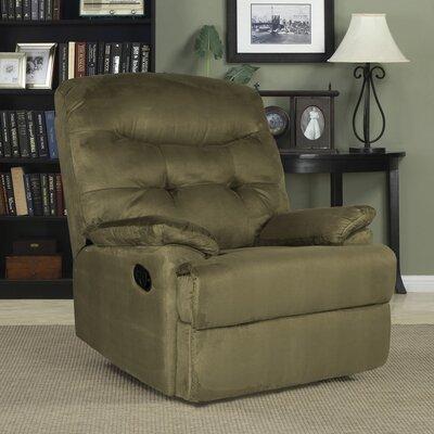 Big Jack Manual Wall Hugger Recliner Upholstery: Green