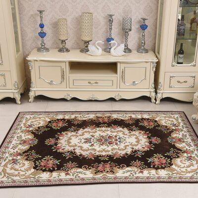 Classic Retro Brown/Beige Area Rug Rug Size: 46 x 66