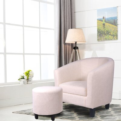 Korina Barrel Chair and Ottoman Upholstery: Beige