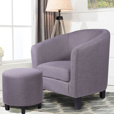 Korina Barrel Chair and Ottoman Upholstery: Grey