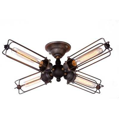 4-Light Cage Semi Flush Mount