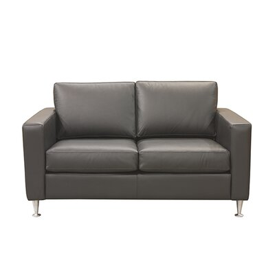 Erika Leather Loveseat Upholstery: AMB 1181 Black