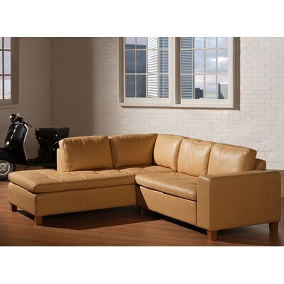 Allegro Leather Sectional Upholstery Color: Cream, Leg Finish: Walnut, Orientation: Right Hand Facing