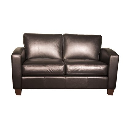 Mercer Leather Loveseat Upholstery: AMB 1181 Black, Frame Finish: Espresso