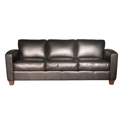 Coja Mercer Leather Sofa - Finish: Walnut Color: EXP 2123 Black