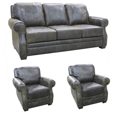 Boise Top Grain Leather Sofa and 2 Chairs Set