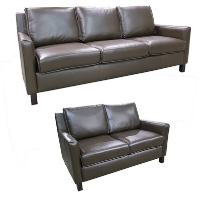 Denver Leather 2 Piece Living Room Set