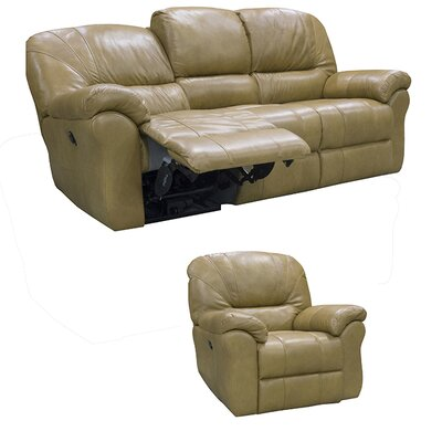 Frankfort Top Grain Leather Sofa Recliner and Chair Recliner with Power Set Upholstery: Medium Brown
