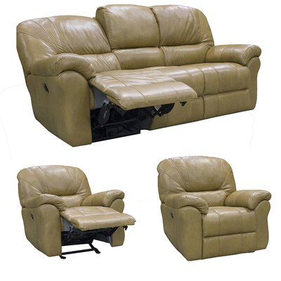 Frankfort Sofa Recliner and 2 Chair Recliner with Power Set Upholstery: Medium Brown
