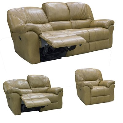 Frankfort Top Grain Leather Sofa Recliner, Loveseat Recliner and Chair Recliner with Power Set Upholstery: Dark Brown