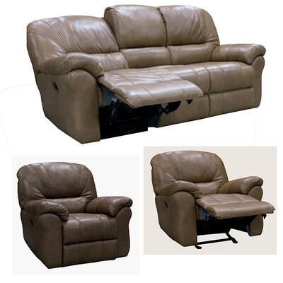 Frankfort Sofa Recliner and 2 Chair Recliner with Power Set Upholstery: Dark Brown