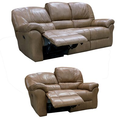 Frankfort Top Grain Leather Sofa Recliner and Loveseat Recliner with Power Set Upholstery: Dark Brown