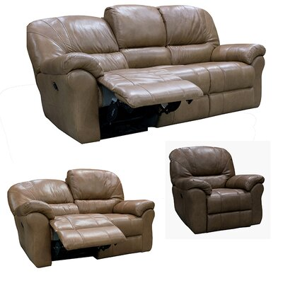Frankfort Top Grain Leather Sofa Recliner, Loveseat Recliner and Chair Recliner with Power Set Upholstery: Medium Brown
