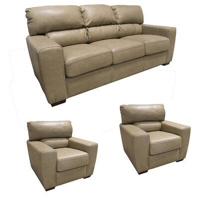 Hartford Leather 3 Piece Living Room Set