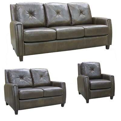 Topeka Top Grain Leather Sofa, Loveseat and Chair Set