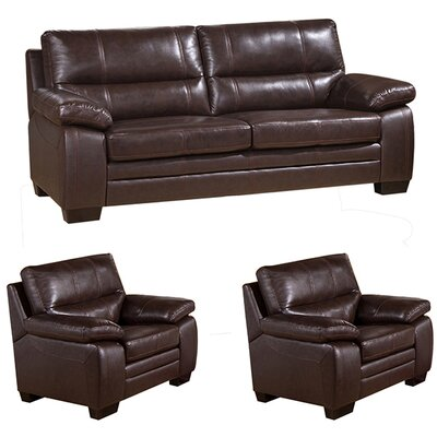 Hutchings 3 Piece Leather Living Room Set