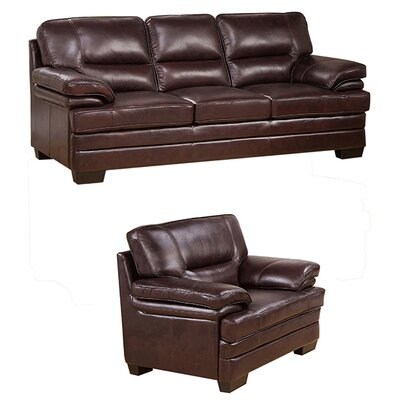 Hutcherson 2 Piece Leather Living Room Set