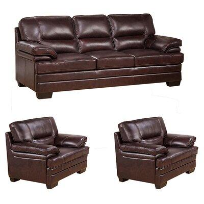 Hutcherson 3 Piece Leather Living Room Set
