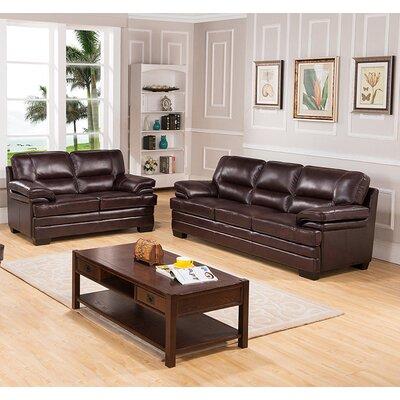 Hutcherson 2 Piece Leather Living Room Set