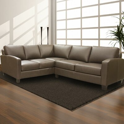Adeen Leather Sectional Upholstery: AMB 1181 Black, Leg Finish: Espresso