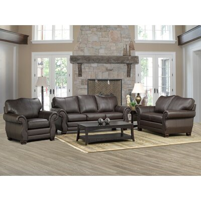Huntington Italian Leather Sofa, Loveseat, and Chair Set