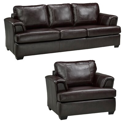 Royal Cranberry Leather 2 Piece Living Room Set