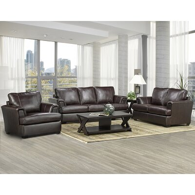 Royal Cranberry Leather 3 Piece Living Room Set