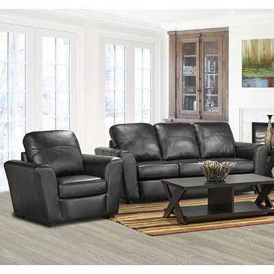 Delta Italian Standard Leather Sofa Upholstery: Black