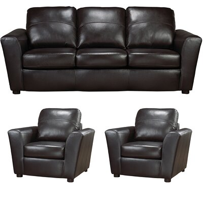 Delta Italian Leather Sofa and 2 Chair Set Upholstery: Black