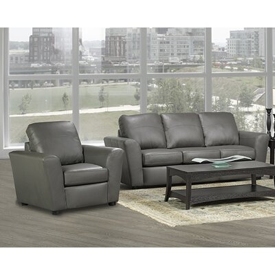 Delta Italian Leather Sofa and Chair Set Upholstery: Grey